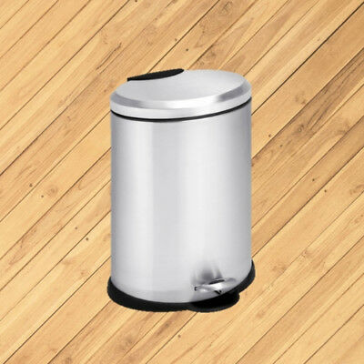 Honey Can Do 3.2 Gallon Oval Step Trash Can Stainless Steel Metal Silver