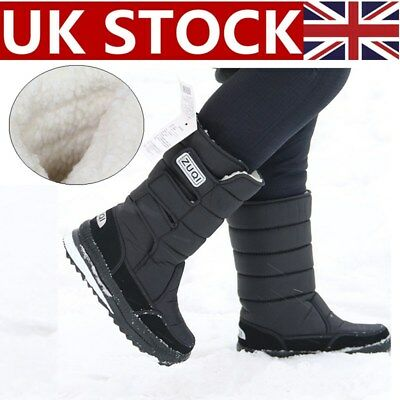 Mens Fur Lined Waterproof Mid Calf Boots Pull On Snow Winter Warm Outdoor Shoes