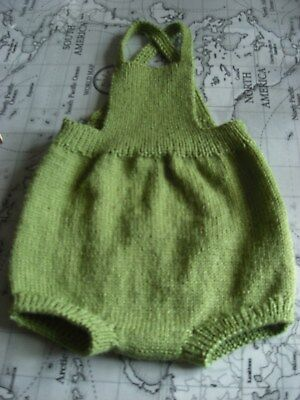 Baby romper hand knitted from vintage pattern green