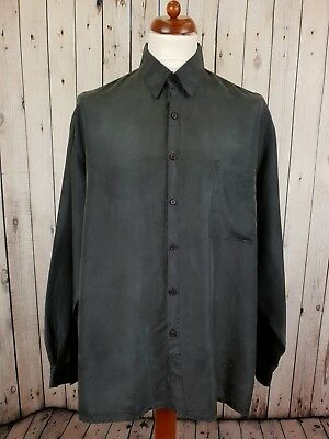 Vtg L-sleeve Black Gothic Floaty Flouncy Silk Shirt -XL- GS18