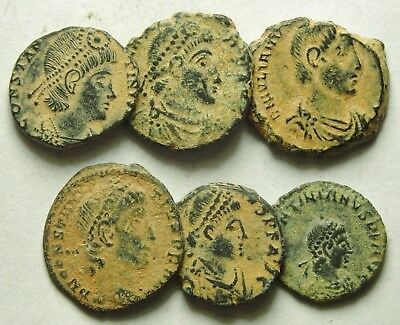Selection Of Six Roman Bronze Coins (858F)