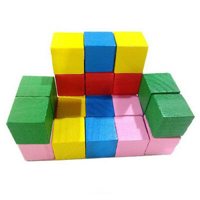 20Pcs Wooden Blocks Small Easy To Build Multicolor Cubes Gift Kids Toy Z