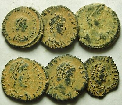 Selection Of Six Roman Bronze Coins (864F)