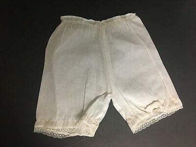 Vintage Off White Organdy Victorian Girls Toddlers Dolls Pantaloons w/ Lace Trim
