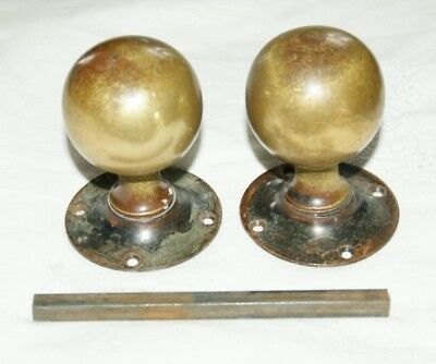 Pair Of Antique/Vintage Brass Door Handles/Knobs  Round Plate (W T & S)