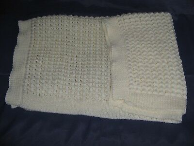 Hand Knitted Double Knit Cream Lacy Pattern Large Baby Blanket - Ribbed Edges