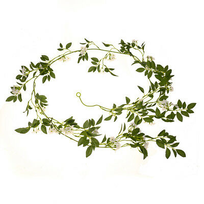 6.5ft Artificial Jasmine Garland - Decorative Plants Green Foliage White Flowers