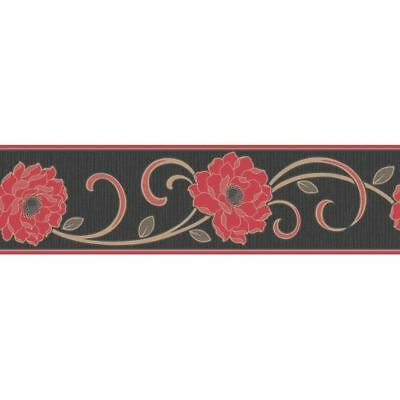 Flower Wallpaper Border Floral Textured Vinyl Florentina Fine Decor Black Red