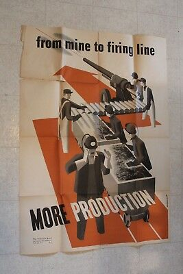 Large Vintage 1942 Wwii Poster Mine To Firing Line Production
