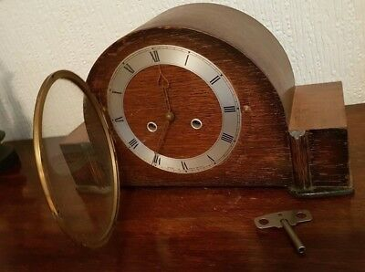 Antique Large Sized Smiths Enfield Oak Chiming Mantle Clock - With Key & Working