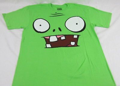 Mens NEW Plants vs. Zombies Lime Green Big Face T-Shirt Size M 2XL