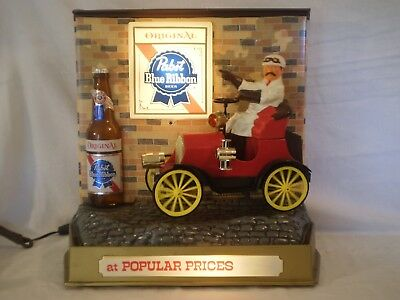 VINTAGE NOS PABST BLUE RIBBON BEER ELECTRIC LIGHTED SIGN w/ MECHANICAL JALOPY