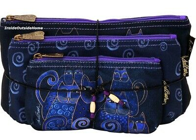 Laurel Burch Indigo Cats Makeup Bag 3pc Organizer Set +Tie String Russian Blue