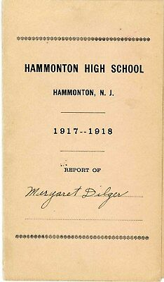 1917-1918 Hammonton Nj High School Class Examination Report Atlantic County