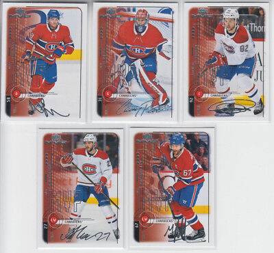 18/19 UD MVP Montreal Canadiens 20th Anniversary Retro 5 cards - Juulsen RC +