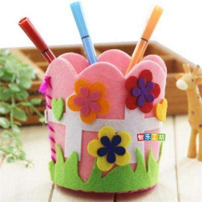 Kids Colored Creative Handcrafts DIY Non-Woven Pencil Holder Craft Toys Z