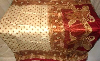 Cream Maroon Pure Silk 4 yard Vintage Sari Saree Gift for Mother Spain US #98TPW