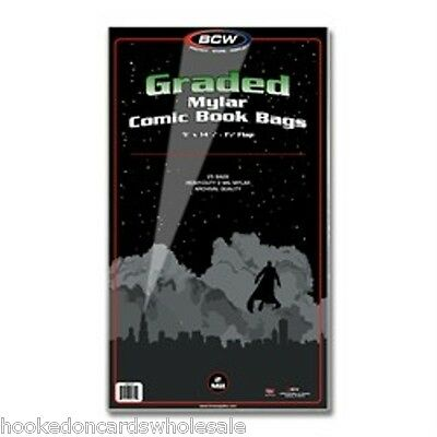 """1 Pack of 25 BCW Graded Comic Book Mylar Bags Sleeves 2 mil - 9 x 14 1/4"""""""