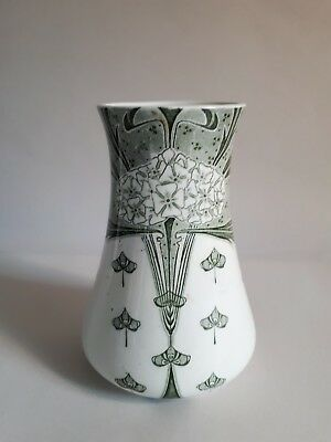Antique c1895 MINTONS Art Nouveau Vase. Green & White Transfer. DENTON Pattern