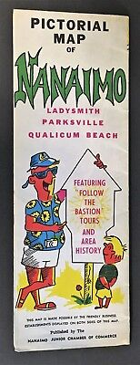 PICTORIAL MAP NANAIMO LADYSMITH PARKSVILLE QUALICUM BEACH Circa 1960