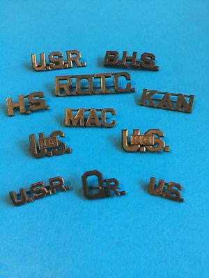 Original Wwi Us Army Officer Collar Insignia 11 Piece Lot-Large To Small Pinback