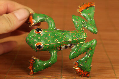 Valuable Chinese Old enamels Cloisonne Handmade Carved Frog Statue Collectable