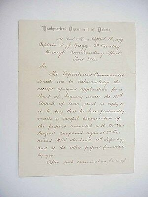 Department of Dakota Stationery St. Paul MN 2nd Cavalry Letter to Fort Ellis MT