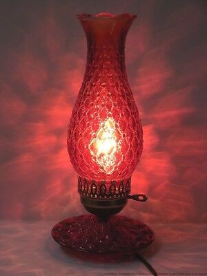 Vintage Glass Red Light Quilted Diamond Pillow Oil Lantern Electric Lamp