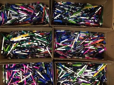 BULK LOT 150 Assorted Misprint Ballpoint Plastic Pens Retractable Blue Black Ink