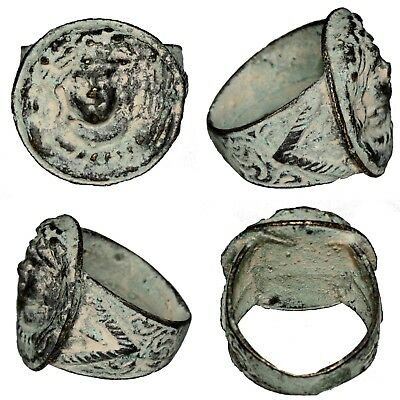 Perfect Near East Bronze Or Brass Ring With A Female Face In Bezel Circa 1000 Ad