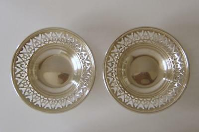 A Pair Of Ornate Sterling Silver Small Bowls Birmingham 1974 & 75 Charles Green