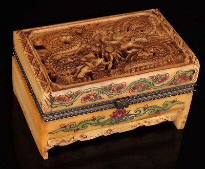 Handmade Carved Dragon Royal Statue Jewelry Box Rare Collection Cattle Bone