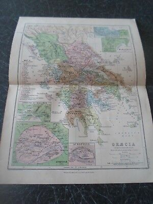 Map 1870 GRAECIA (GREECE) By Keith Johnston (Plate 13)
