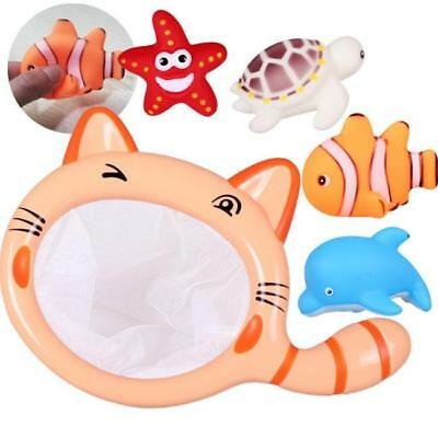 Cat Set Fishing Net Floating Bath Shower Toy Baby Tub Toys For Toddlers Kids CB