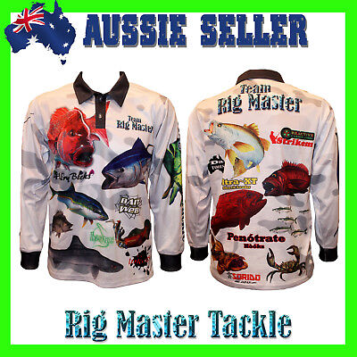 Long Sleeve Team Rig Master Fishing Polo Tournament Shirt Kids 3-14 Adults S-9XL