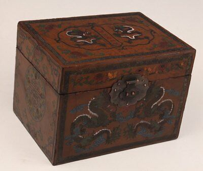 Lacquer Chinese Antique Qing Style Hand-Painted Dragon Statue Jewelry Box Royal