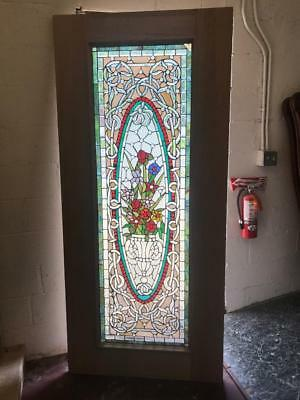BEAUTIFUL STAINED GLASS ESTATE ENTRY DOOR WITH SAFETY GLASS - JHL2167-2a
