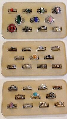 Sterling Silver Ring Lot Of 33 Rings Weighing 199.6  Grams