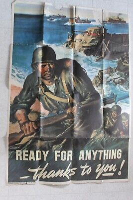 READY FOR ANYTHING WWII POSTER '43 ART OF SOLDIERS STORMING THE BEACH 40 by 28""