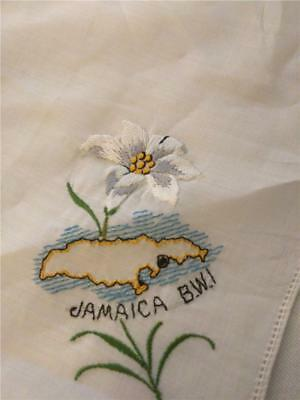 Vintage Souvenir Handkerchief Jamaica BWI Embroidered Lily Flower and Outline