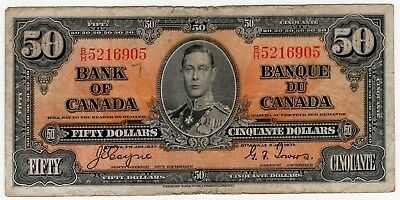 1937 Bank Of Canada Fifty 50 Dollar Bank Note Bh 5216905 Nice Bill