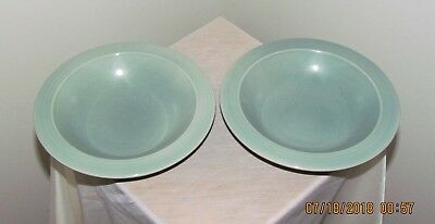 "Pair (2) Vintage Red Wing ~ Village Green ~ 8 and 3/8"" Rimmed Soup Bowl Bowls"