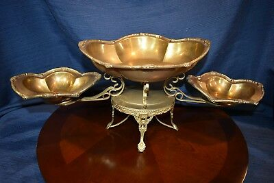 Ornate Three Tray / Two Tier Brass Table Centerpiece by Mottahedeh - Excellent!
