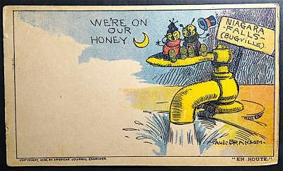Postcard Artist Signed We're On Our Honey Niagara Falls Paul Bransom Bugs 1906