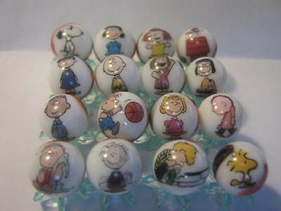 Peanuts Gang 5/8 size glass marbles lot collection + STANDS
