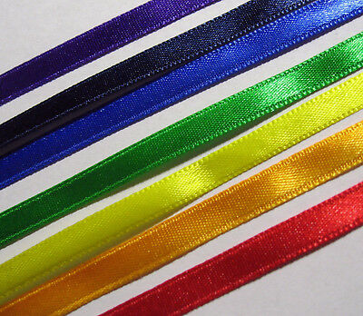 RAINBOW PACK - 7 x 1 Metre lengths of 6mm wide single sided satin ribbon