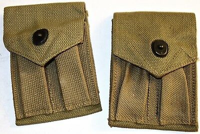 "LOT of TWO (2) WWII US 3-3/4"" x 5"" CANVAS POUCHES~LOT #2! NR!"