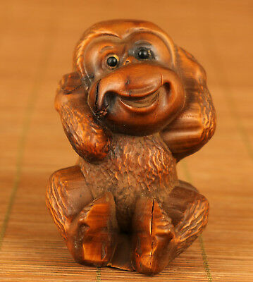chinese hand Old Boxwood carving Monkey statue Figure