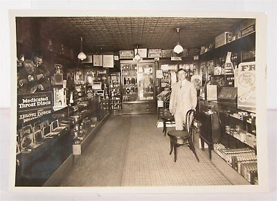 ORIGINAL 1910s CIGAR STORE AND PHARMACY INTERIOR CABINET CARD PHOTOGRAPH