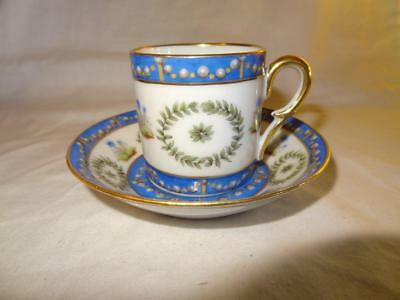 Old Paris French Porcelain Empire Period Cup & Saucer - Dated 1862
